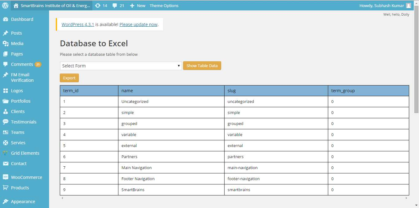 Database to Excel Plugin WordPress