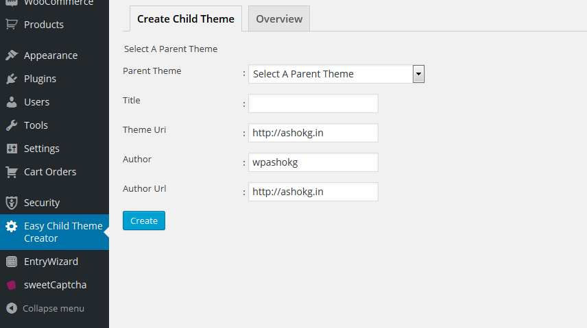 Easy Child Theme Creator Plugin WordPress