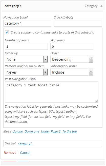Category Posts in Custom Menu Plugin WordPress, Download, Install
