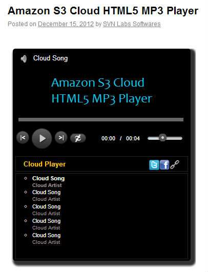 Amazon S3 Cloud HTML5 MP3 Player Plugin WordPress, Download, Install
