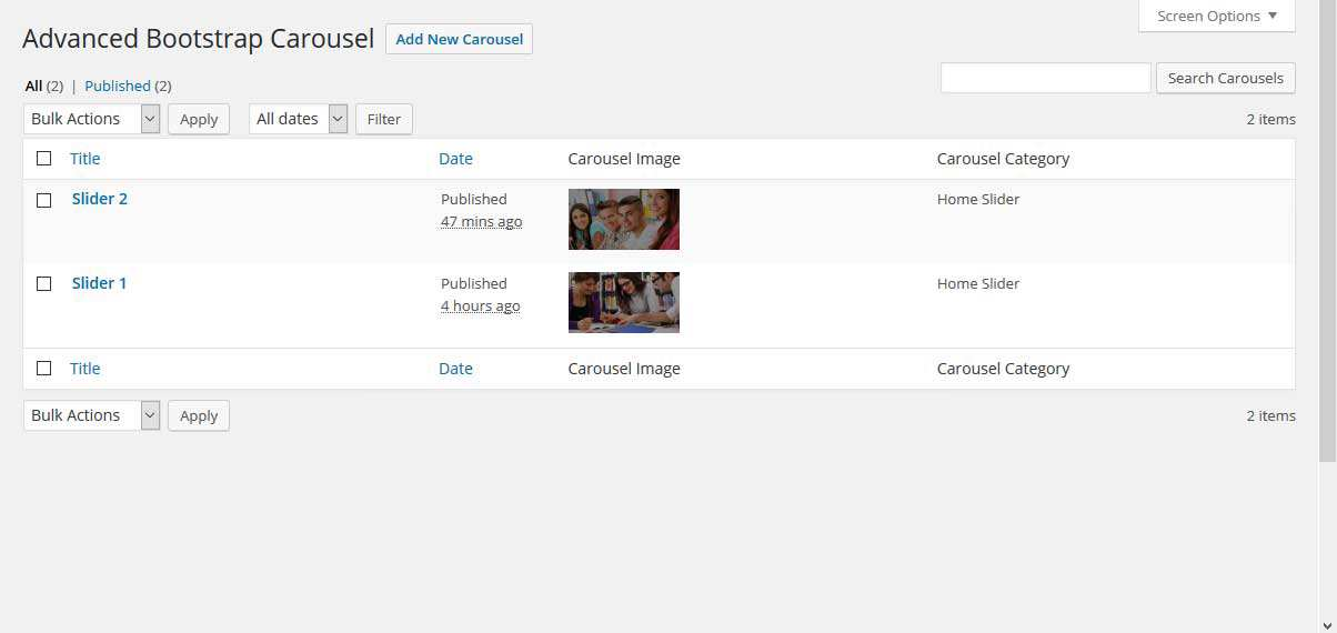 Advanced Bootstrap Carousel Plugin WordPress