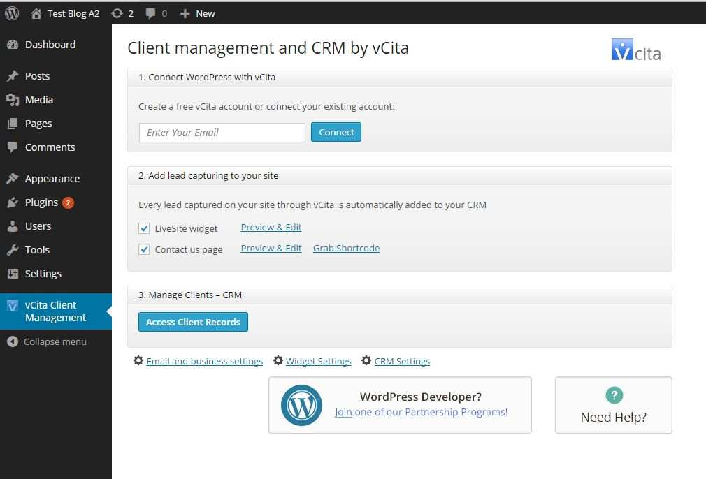 CRM & Lead Management for WordPress by vCita Plugin WordPress