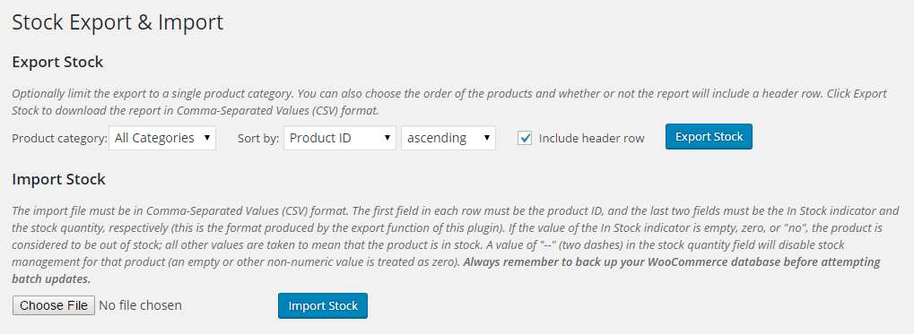 Stock Export and Import for WooCommerce Plugin WordPress, Download, Install