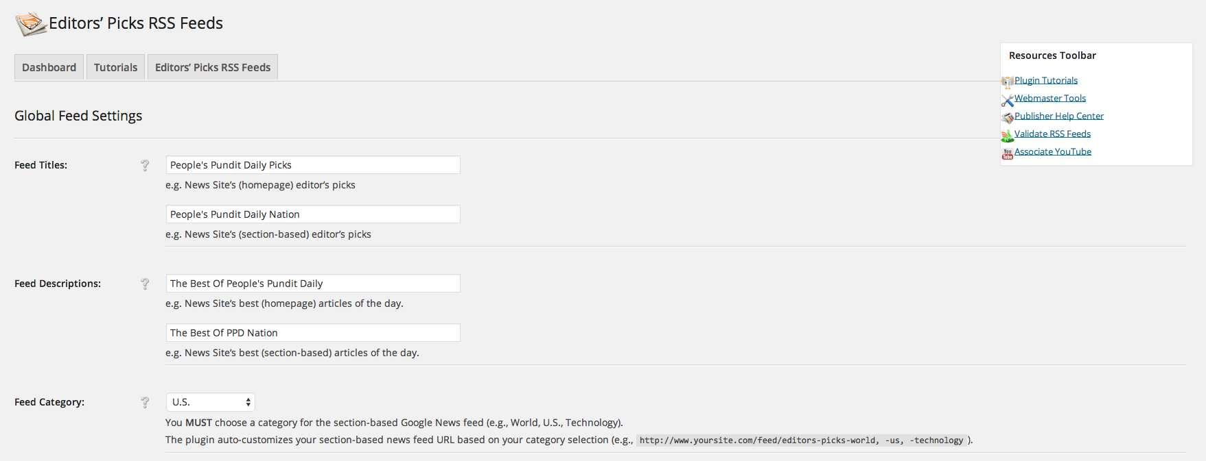 Google News Editors Picks Feed Generator Plugin WordPress
