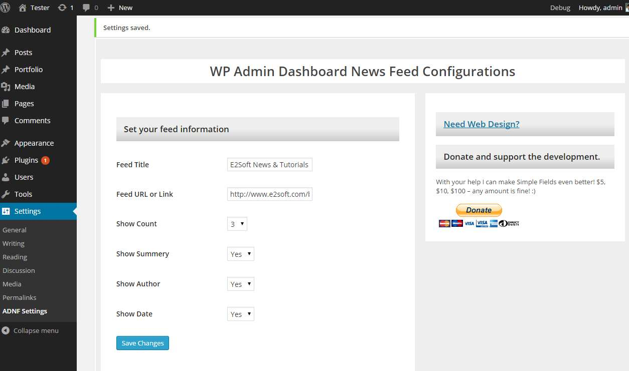 WP Admin Dashboard News Feed Plugin WordPress, Download, Install