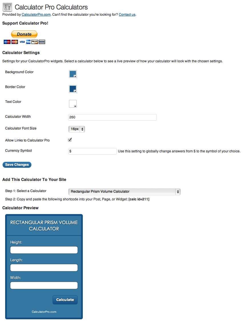 CalculatorPro Calculators Plugin WordPress