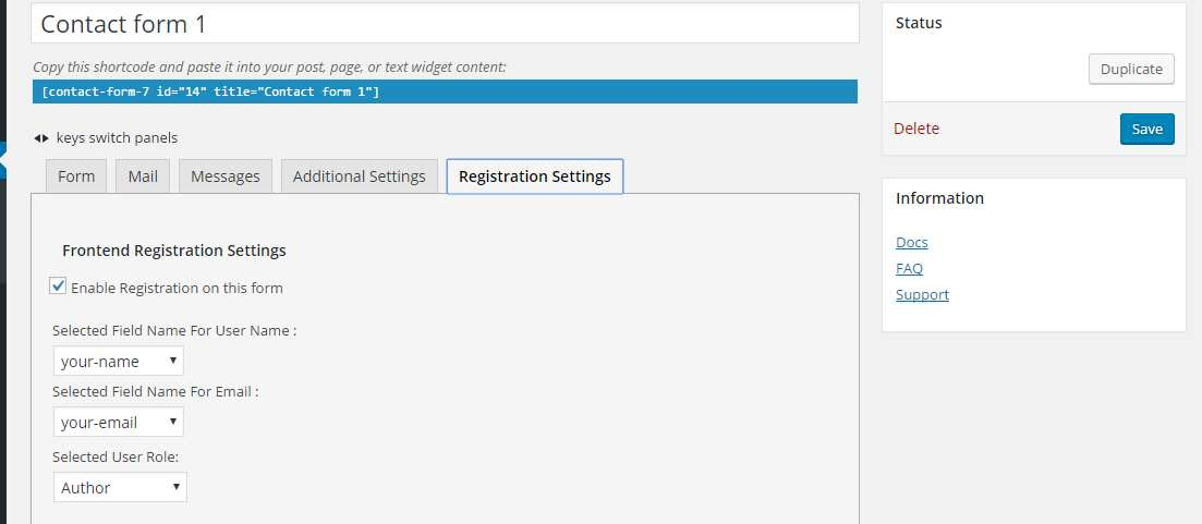 Frontend Registration – Contact Form 7 Plugin WordPress, Download, Install