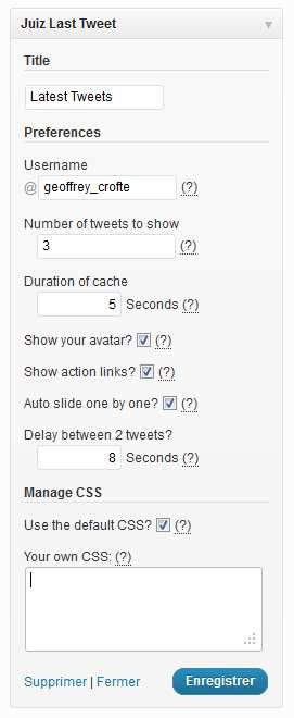 Juiz Last Tweet Widget Plugin WordPress