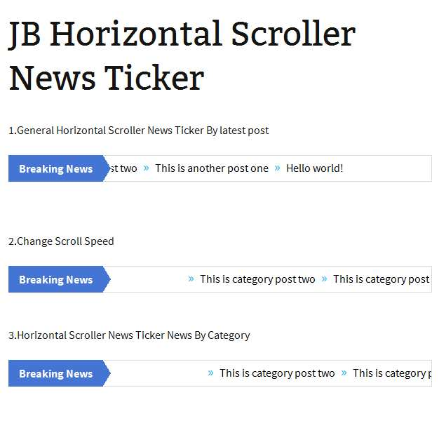 JB Horizontal Scroller News Ticker Plugin WordPress, Download, Install