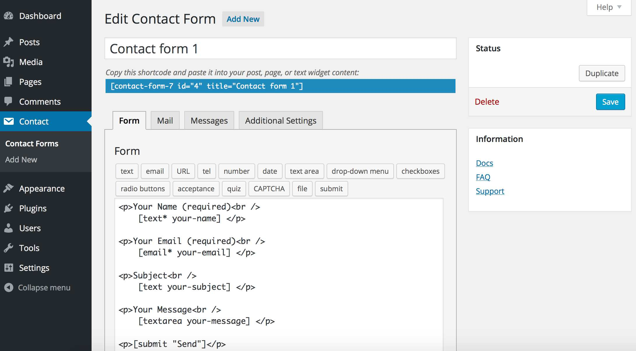 Contact Form 7 Plugin WordPress, Download, Install