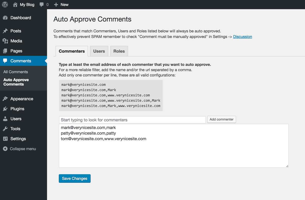 Auto Approve Comments Plugin WordPress