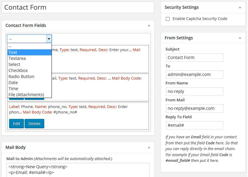 Contact Form With Shortcode Plugin WordPress