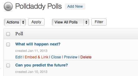 Polldaddy Polls & Ratings Plugin WordPress