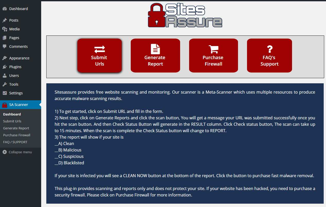 Sitesassure WP Malware Scanner Plugin WordPress, Download, Install