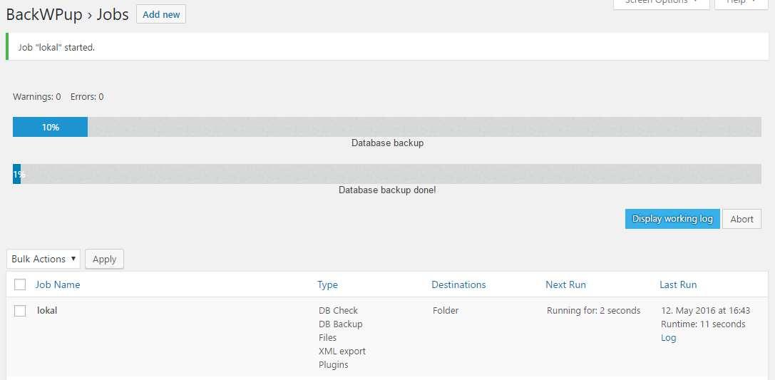 BackWPup - WordPress Backup Plugin Plugin WordPress