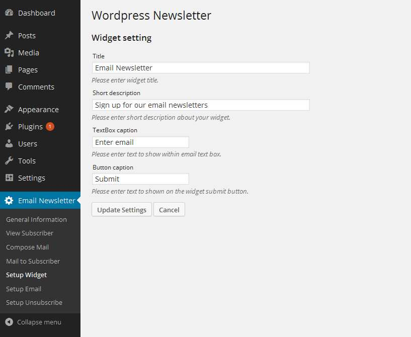 WordPress Email Newsletter Plugin WordPress