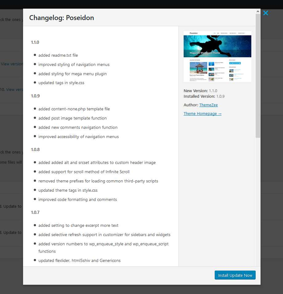 WP Theme Changelogs Plugin WordPress