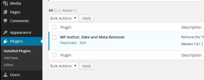 WP Author, Date and Meta Remover Plugin WordPress, Download, Install