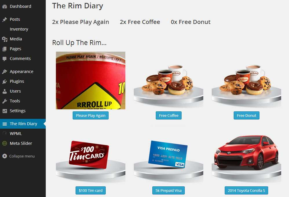 Tim Hortons Rim Diary Plugin WordPress, Download, Install