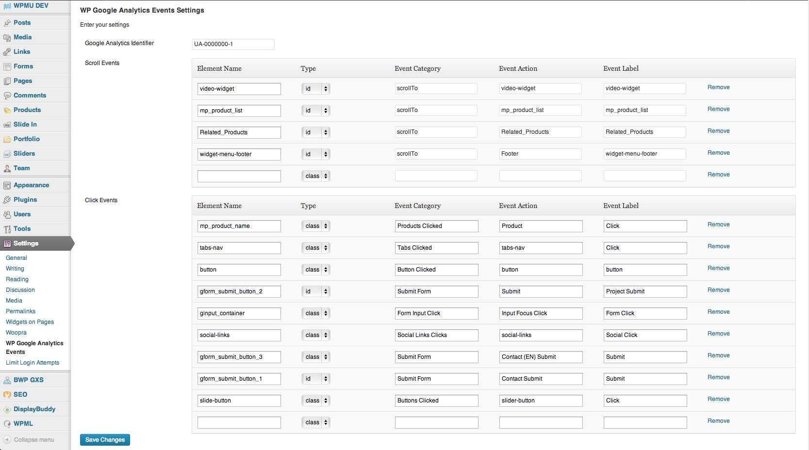 WP Google Analytics Events Plugin WordPress