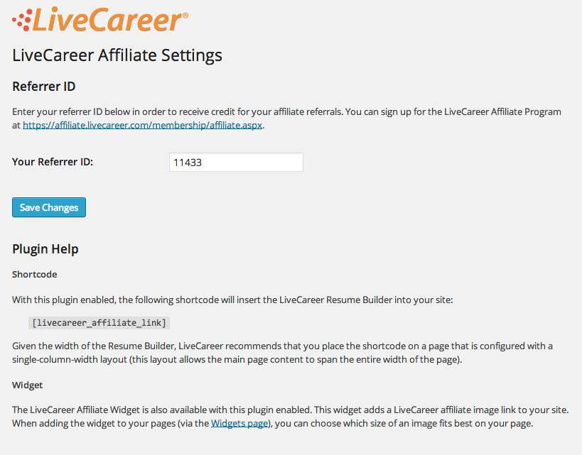 LiveCareer Affiliate Resume Plugin Plugin WordPress, Download, Install